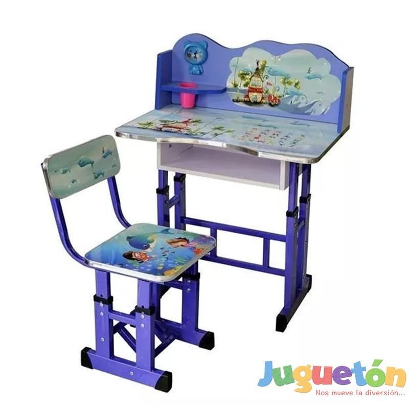 Escritorio mesa silla ni o ajustables en altura marino for Altura de un escritorio