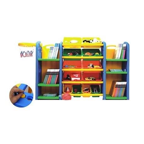 Estante con repisas y cajas juguetes plastico for Mueble organizador infantil