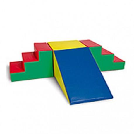 Set 4 pcs Escaleras, Cubo y Rampla  espuma  para motricidad