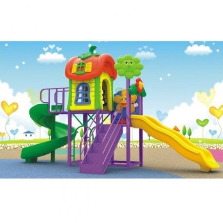 Estación de juego Jardín Plaza Doble Tobogán Espiral y Simple con Ondas