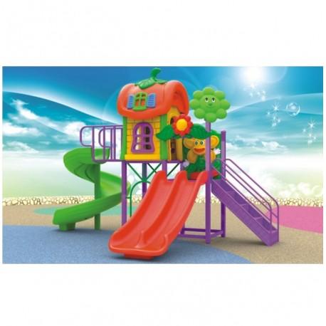 Estación de juego Jardín Plaza Doble Tobogán Espiral y doble