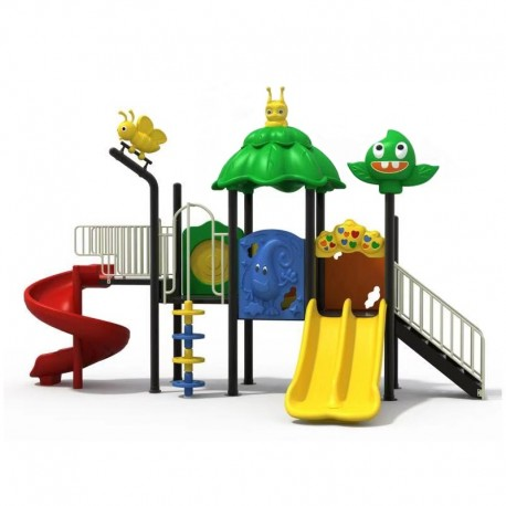 Estación de juego modular pre basica escolar primera infancia a Vichos Tobogán Espiral y Doble Liso