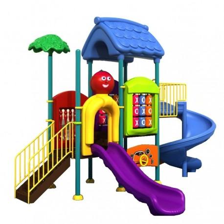 Estación de juego modular pre basica escolar primera infancia Plaza Doble Tobogán Espiral y Simple Calidad