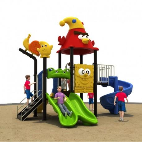 Estación de juego modular pre basica escolar primera infancia a Birds Tobogán Espiral Doble Liso