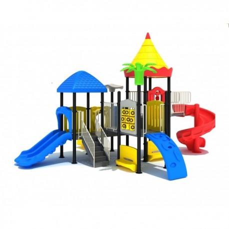 Estación de juegos Plaza multiple toboganes y trepadores modular 34