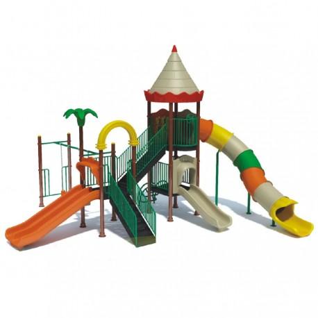 Estación de juegos Plaza 3 toboganes columpios y trepadore modular 34