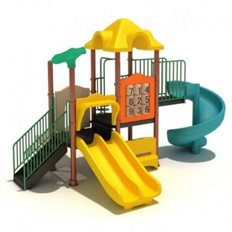 Estación de juegos Plaza Columpios y Tres Toboganes espiral, doble y simple