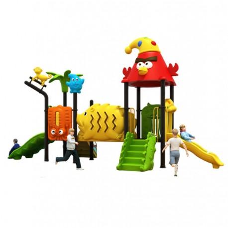 Estación de juego modular pre basica escolar primera infancia primer ciclo Birds Tobogán Doble Simple Tunel