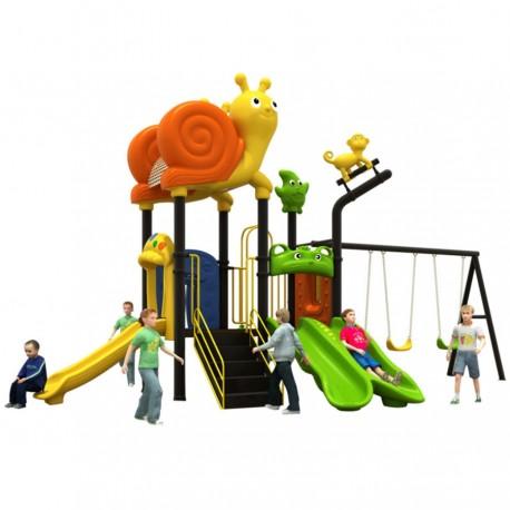Estación de juego modular pre basica escolar primera infancia Caracol Tobogán Doble Simple triple Columpios