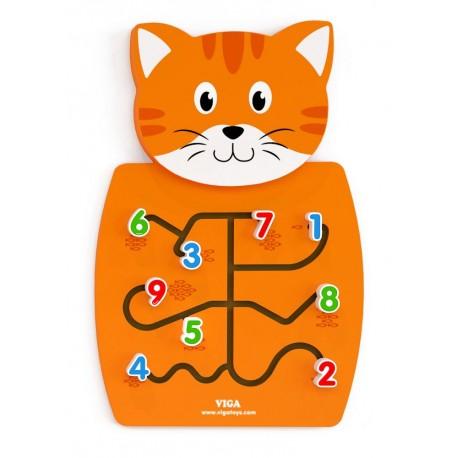 Juego de pared de madera diseño gato coordinación ojo-mano