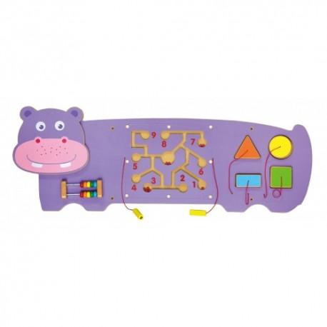 Juego de pared de madera diseño hipopotamo  coordinación ojo-mano