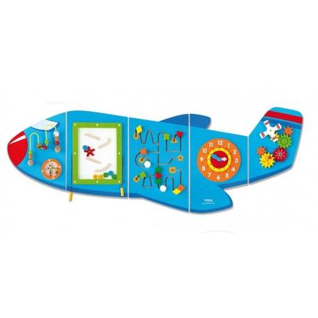 Juego de pared de madera diseño avión coordinación ojo-mano